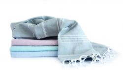 Hammam Towel Turkuaz Set of 4 | Grey, Soft Pink, Mint & Sky Blue