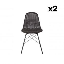 Set of 2 Outdoor Chairs Spun | Black