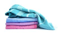 Serviette Hammam Turkuaz Set de 4 | Vert, Blue, Mauve & Rose
