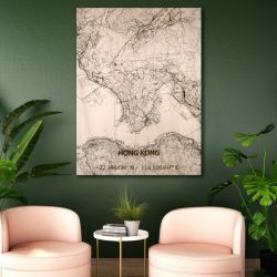Wooden Wall Decoration | City Map | Hong Kong