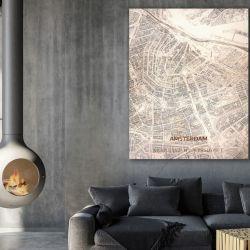 Houten Wanddecoratie | Stadsplattegrond  | Amsterdam
