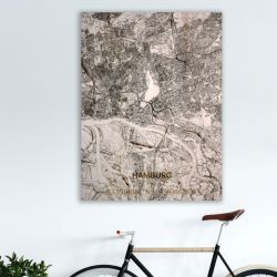 Wooden Wall Decoration | City Map | Hamburg