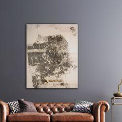 Holzwanddekoration | Stadtplan | San Francisco