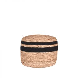 Braided Pouf | Black