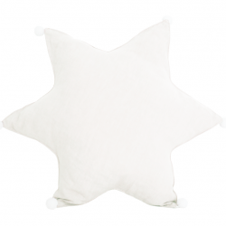 Star Cushion Linen | White