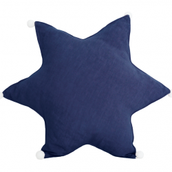 Star Cushion Linen | Navy Blue