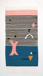 SHAPES ON STRIPES Kilim Rug | Blue