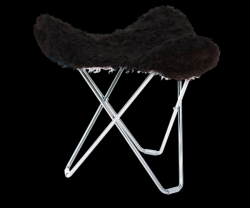 Sheepskin Stool Flying Goose | Shorn Black / Chrome Frame