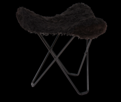 Sheepskin Stool Flying Goose | Shorn Black / Black Frame