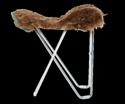 Sheepskin Stool Flying Goose | Shorn Brown / Chrome Frame