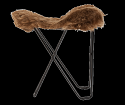 Sheepskin Stool Flying Goose | Shorn Brown / Black Frame