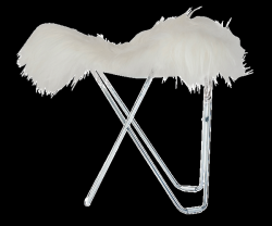 Tabouret Peau d'Islande Flying Goose | Blanc Court / Chrome