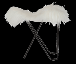 Sheepskin Stool Flying Goose | Shorn White / Black Frame
