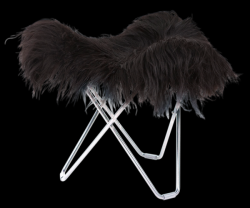 Tabouret Peau d'Islande Flying Goose | Noir Long / Chrome