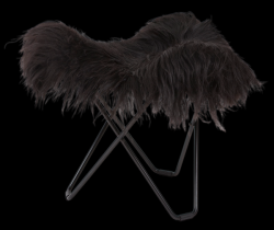 Sheepskin Stool Flying Goose | Long Black / Black Frame