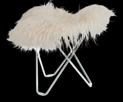 Tabouret Peau d'Islande Flying Goose | Long Blanc / Chrome