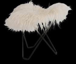Sheepskin Stool Flying Goose | Long White / Black Frame
