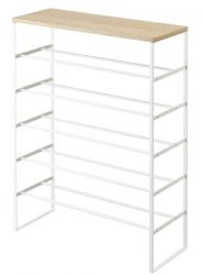 Shoe Rack Wood Tower | White