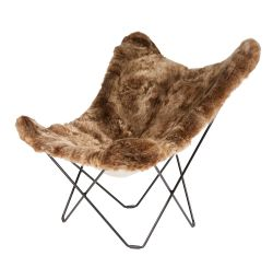Butterfly Chair Icelandic Sheepskin | Shorn Brown / Black Frame