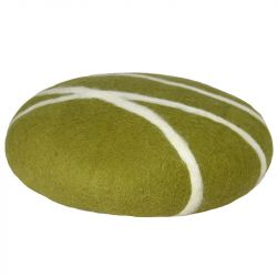 Cushion Sirani Stone | Moss Green/White