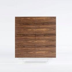 Armoire avec 4 Portes &  2 Glissières Siviglia | Noyer Foncé & Blanc Mat
