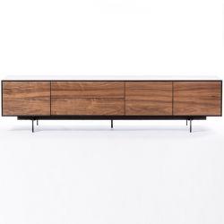 Cabinet Siviglia 3 Doors and 2 Drawers | Dark Walnut & Matt Black