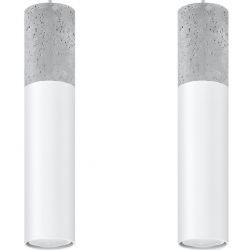 Suspension Borgio 2 Lampes | Gris - Blanc