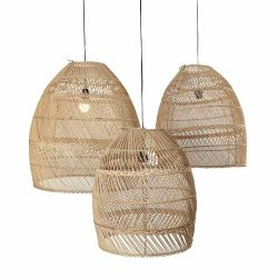 Set of 3 Rattan Lampshades Moon | Natural