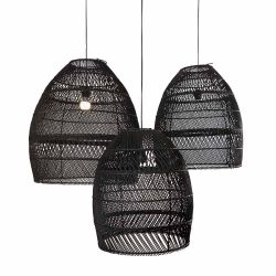 Set of 3 Rattan Lampshades Moon | Black