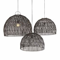 3er-Set Rattan-Lampenschirme Bogor | Schwarz