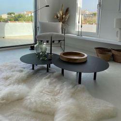 Schafsfell-Teppich-Patchwork | Weiß
