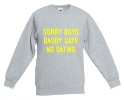 Kids Sweater Daddy Says No Dating | Grey & Neon Yellow