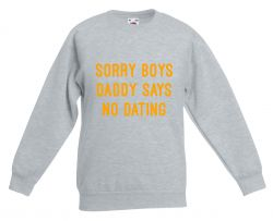 Kids Sweater Daddy Says No Dating | Grey & Neon Orange