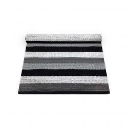Baumwollteppich | Schwarz/Grau/Weiß gestreift