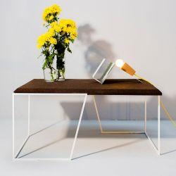 Center Table Grao | Dark Cork & White Legs