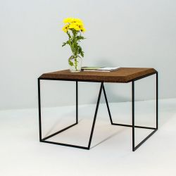 Coffee Table Grao | Dark Cork & Black Legs