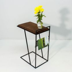 Side Table Grao | Dark Cork & Black Legs