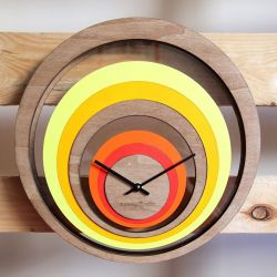 Grande Illusion Clock | Wood/Orange