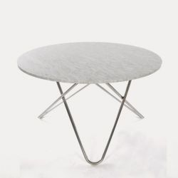 Big O Table | White Carrara/Stainless Steel
