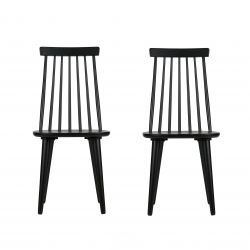 Set of 2 Sticks Chairs | Wood / Black
