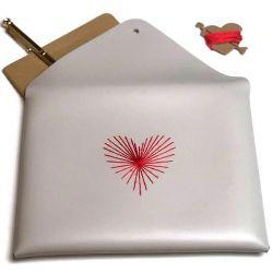 Stitch Envelope Pouch Heart Strings | Light Grey