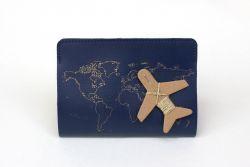 Reisepass-Cover-Stich | Marine + Goldfaden