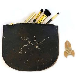 Stitch Zip Pouch Star Sign | Black