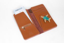 Stitch Travel Wallet | Brown + Teal & Turquoise Thread