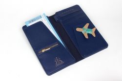 Stitch Travel Wallet | Navy + Teal & Gold Thread