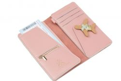 Stitch Travel Wallet | Pink + Mint & Gold Thread