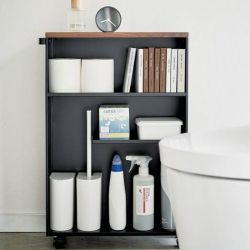 Semi-Closed Storage Cart Tower | Black