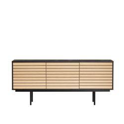 Sideboard Stripe | Schwarz-Eiche