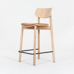 Bar Stool Otis Oak & Leather Seat Pad | Cognac