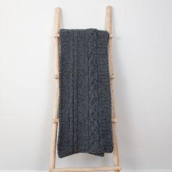 Plaid Frida 150 x 163 cm | Laine d'Alpaga Grise Foncé